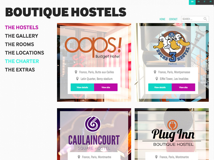 Hostels Page