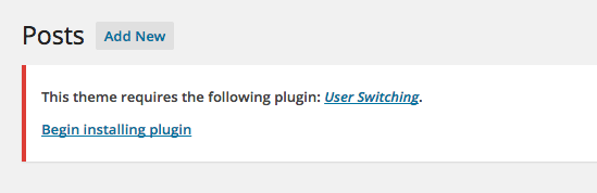 Screen Shot TGM Plugin Activation required plugin