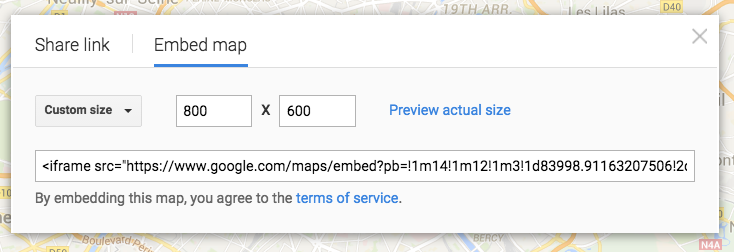 Custom size for Google map embed
